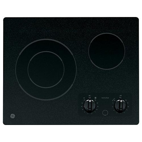 Table de cuisson électrique rayonnante de 21 po en noir avec 2 éléments