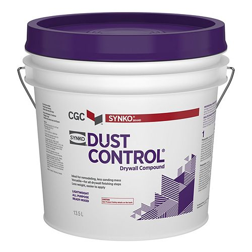 Dust Control Drywall Compound, Ready-Mixed, 13.5 L Pail