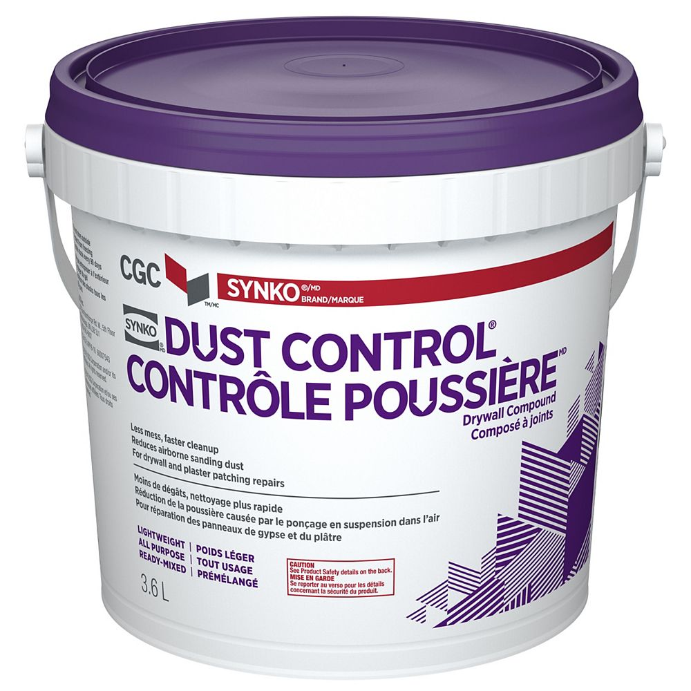 CGC Synko Dust Control Drywall Compound, Ready-Mixed, 3.6 L Pail