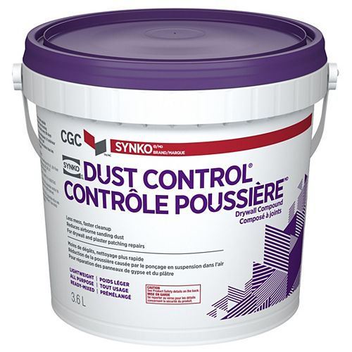 Dust Control Drywall Compound, Ready-Mixed, 3.6 L Pail