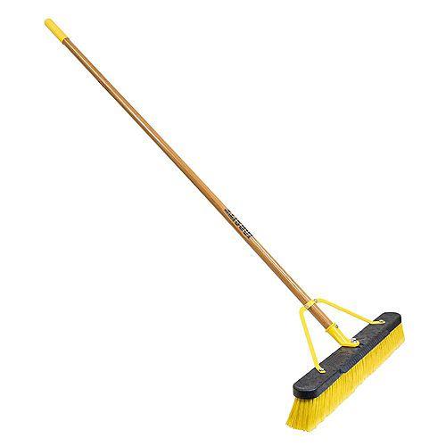 Job Site 24-inch Indoor Outdoor Push Broom Set Up with 60-inch Wood Handle