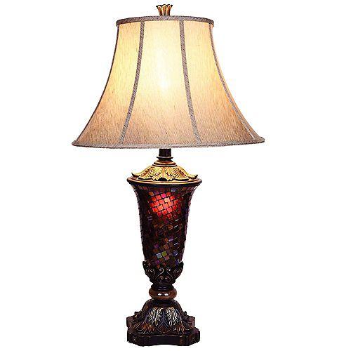 Lampe de table, 33,5po, mosaïque de verre, fini noir et accents or