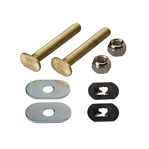 Toilet Floor Bolt Set - Solid Brass