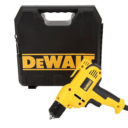 DEWALT 8 Amp 3/8-inch Variable Speed Reversing Mid-Handle Drill Kit with Keyless Chuck