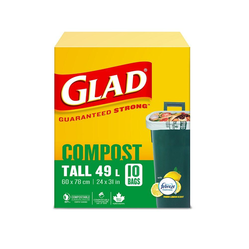 Glad Sacs longs 100% compostables de au parfum de citron frais, boîte de 10 sacs longs de 49 L