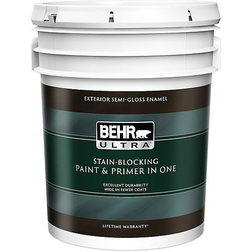 ULTRA Peinture et apprêt en un extérieur émail semi-brillant - Blanc ultra pur, 18,9 L