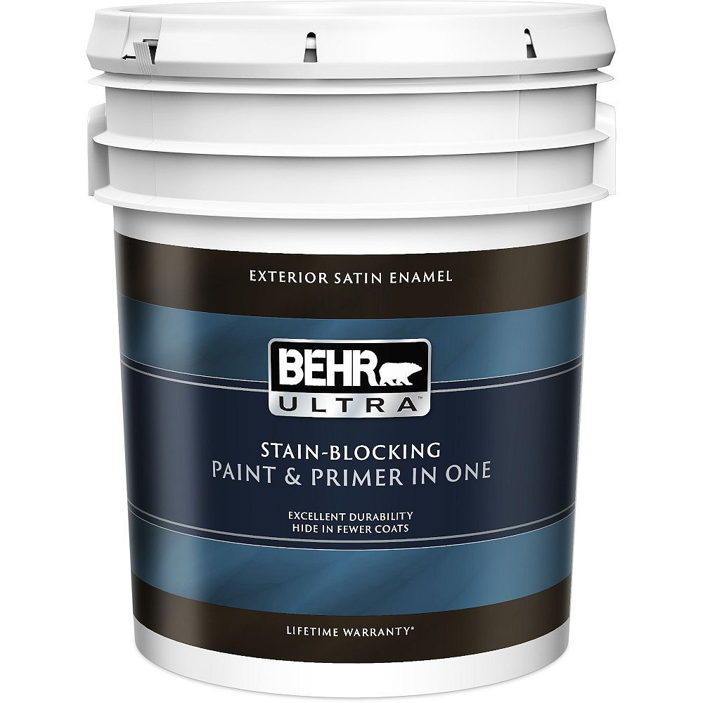 BEHR ULTRA Exterior Satin Enamel Paint & Primer in One - Ultra Pure White, 18.9L
