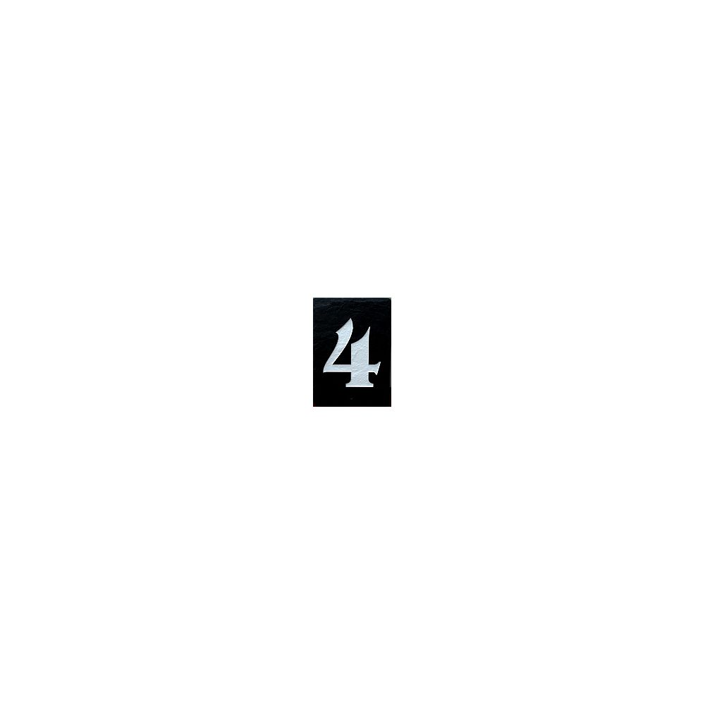 Images In Slate Single Slate Number - 4 - Black Slate, White Inlay