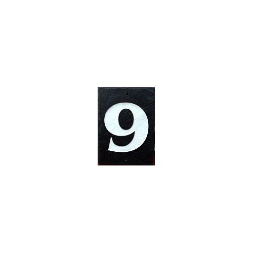 Single Slate Number - 9 - Black Slate, White Inlay