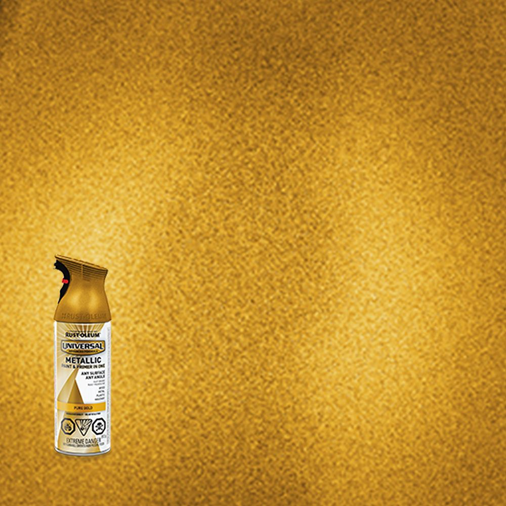 Rust-Oleum Universal Metallic Spray Paint And Primer in One in Pure Gold, 340 G Aerosol