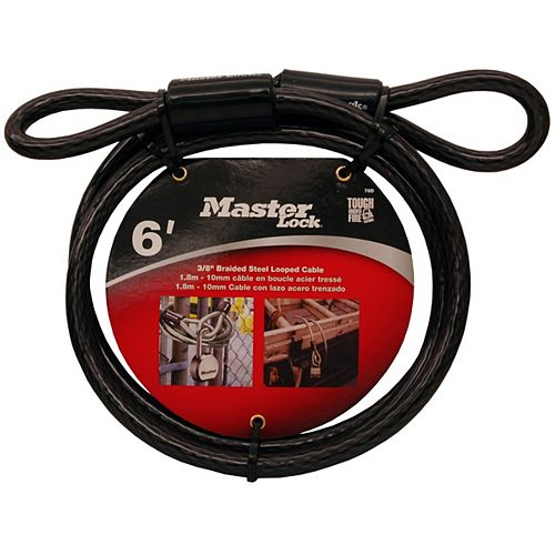 Master Lock 6 Feet (1.8m) Long X 3/8in (10mm) Diameter Looped End Cable