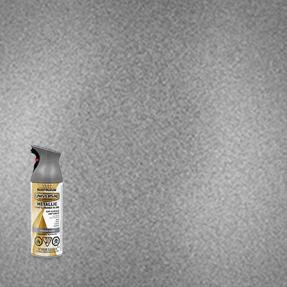 Rust-Oleum Universal Peinture Metallique Et Apprêt En Un Seul Produit En Argent Titane - 340 G Aerosol