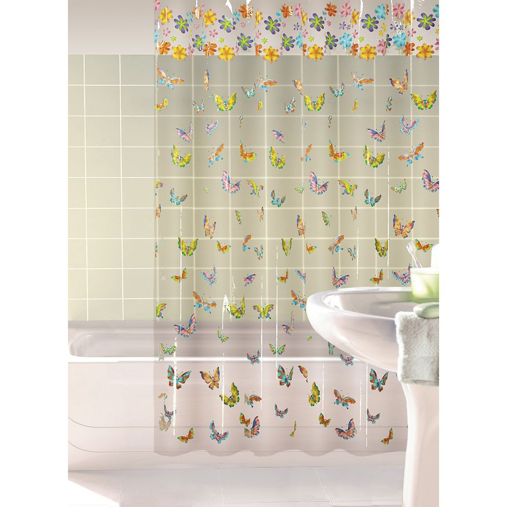 Habitat Lovely Butterflies Shower Curtain, Multi - 70 Inches x 72 Inches