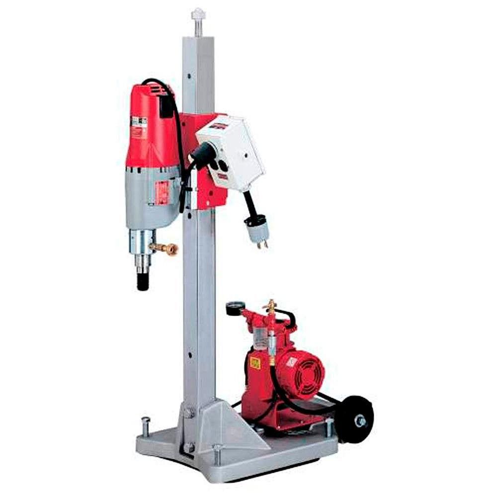Milwaukee Tool Diamond Coring Rig with Large Base Stand, Vac-U-Rig Kit, Meter Box, and Diamond Coring Motor