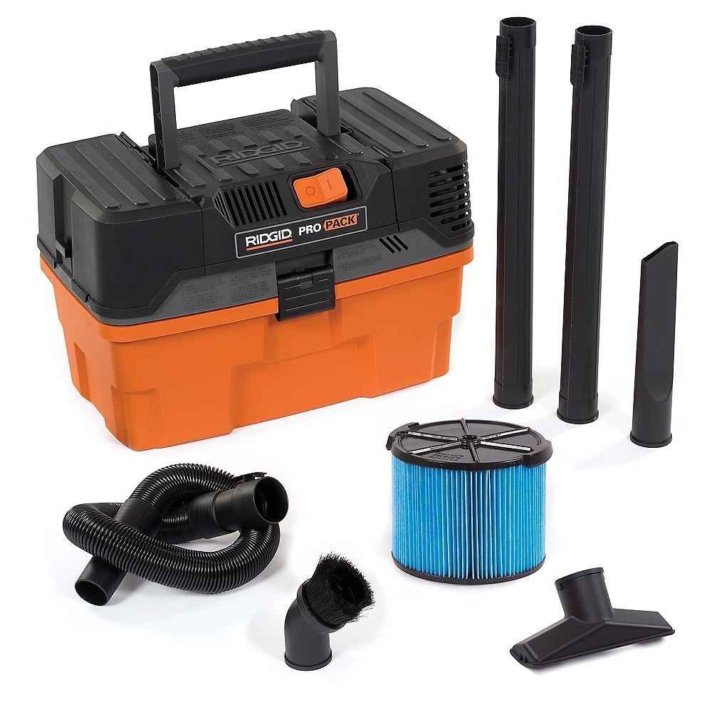 RIDGID Aspirateur sec/humide portatif de Pro Pack 17 litres (4,5 gal), 5,0 HP crête