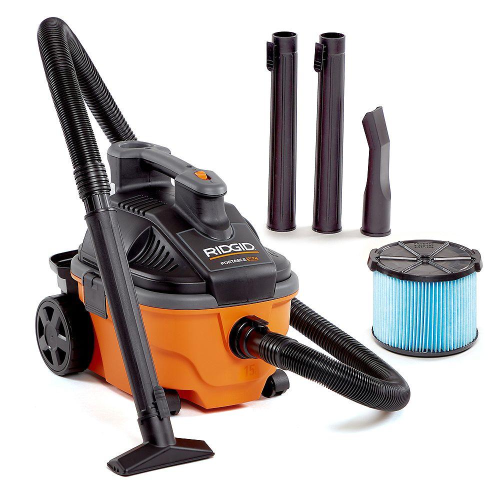 RIDGID Aspirateur sec/humide portatif 15 l (4 gal), 5 HP crête avec roues et stockage