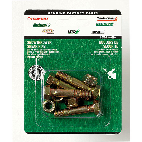 1.5-inch Snowblower Shear Bolts with Nuts for 3/4-inch Auger Shaft