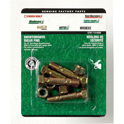 MTD Genuine Factory Parts 1.5-inch Snowblower Shear Bolts with Nuts for 3/4-inch Auger Shaft