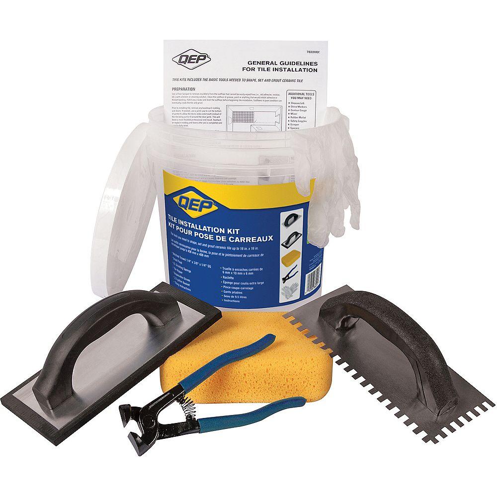 HDX Ceramic Floor Tile Installation Kit Including a Trowel, Float, Nippers, Gloves, Sponge and Bucket