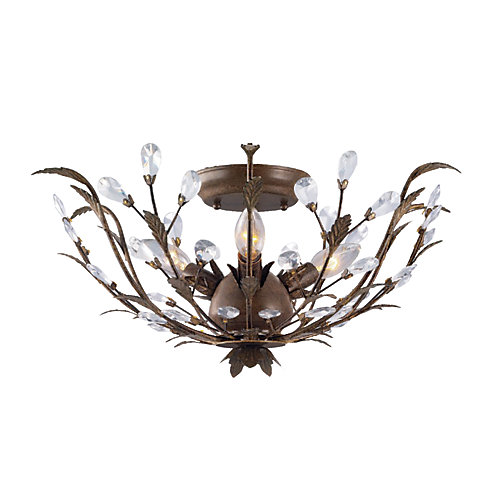 20.75-inch 3-Light 40W Bronze Semi-Flushmount Ceiling Light with Crystal Accents