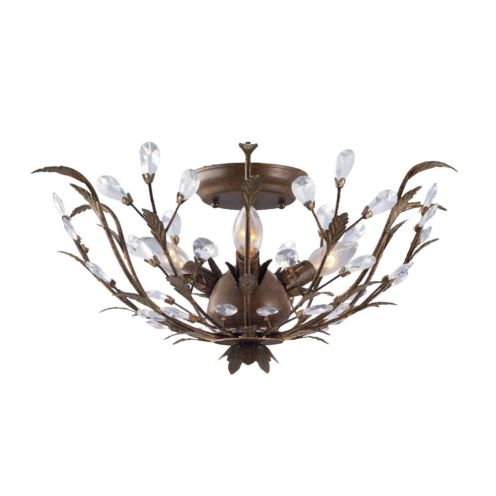 Hampton Bay 20 75 Inch 3 Light 40w Bronze Semi Flushmount Ceiling Light With Crystal Accen The Home Depot Canada