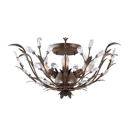 Semi-plafonnier bronze, 3ampoules, 40W, 20,75po, détails en cristal