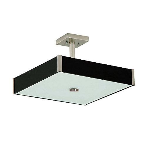 Semi plafonnier carré collection Domino acier satiné bois et verre