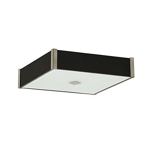 Plafonnier carré collection Domino acier satiné bois et verre
