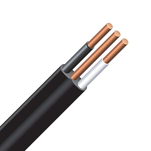 Underground Electrical Cable  Copper Electrical Wire Gauge 12/2. NMWU 12/2 BLACK - 30M