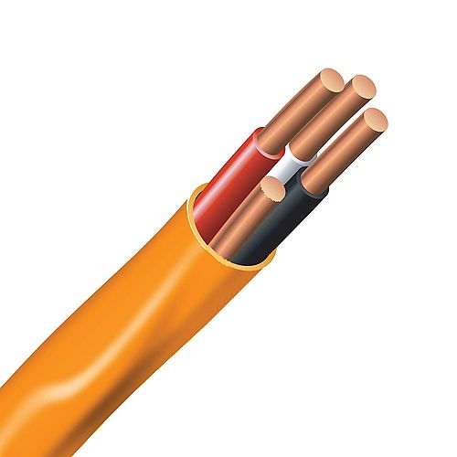 Electrical Cable Copper Electrical Wire Gauge 10/3 - Romex SIMpull NMD90 10/3 Orange - 30M