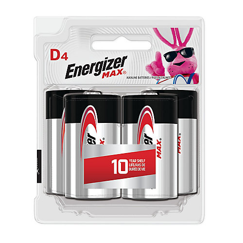 Energizer MAX Alkaline D Batteries, 4 Pack
