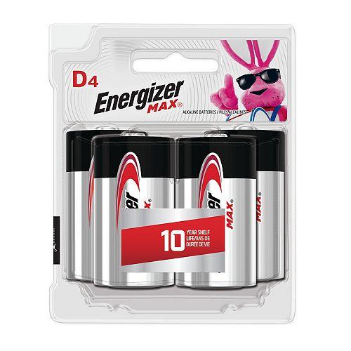 Piles alcalines D MAX, emballage de 4