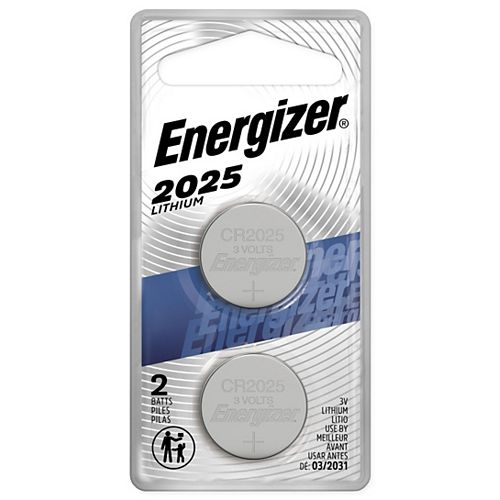 Energizer 2025 Lithium Coin Battery, 2 Pack