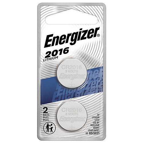 Energizer 2016 Lithium Coin Battery, 2 Pack