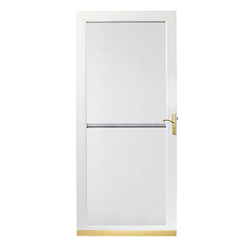 34 Inch Width, 3000 Series Tru-Ease With Tru-Scene Insect Screen, White Door, Brass Hardware