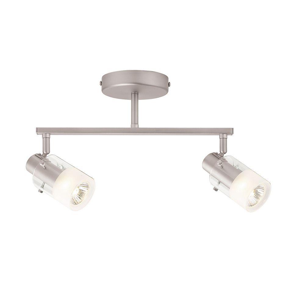 Hampton Bay 2-Light Brushed Steel Ceiling Wall Bar Track Lighting Fixture
