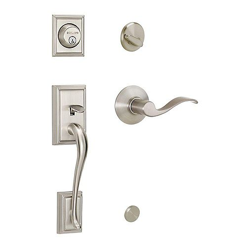 Accent Satin Nickel Single Cylinder Handleset and Lever with Addison Trim