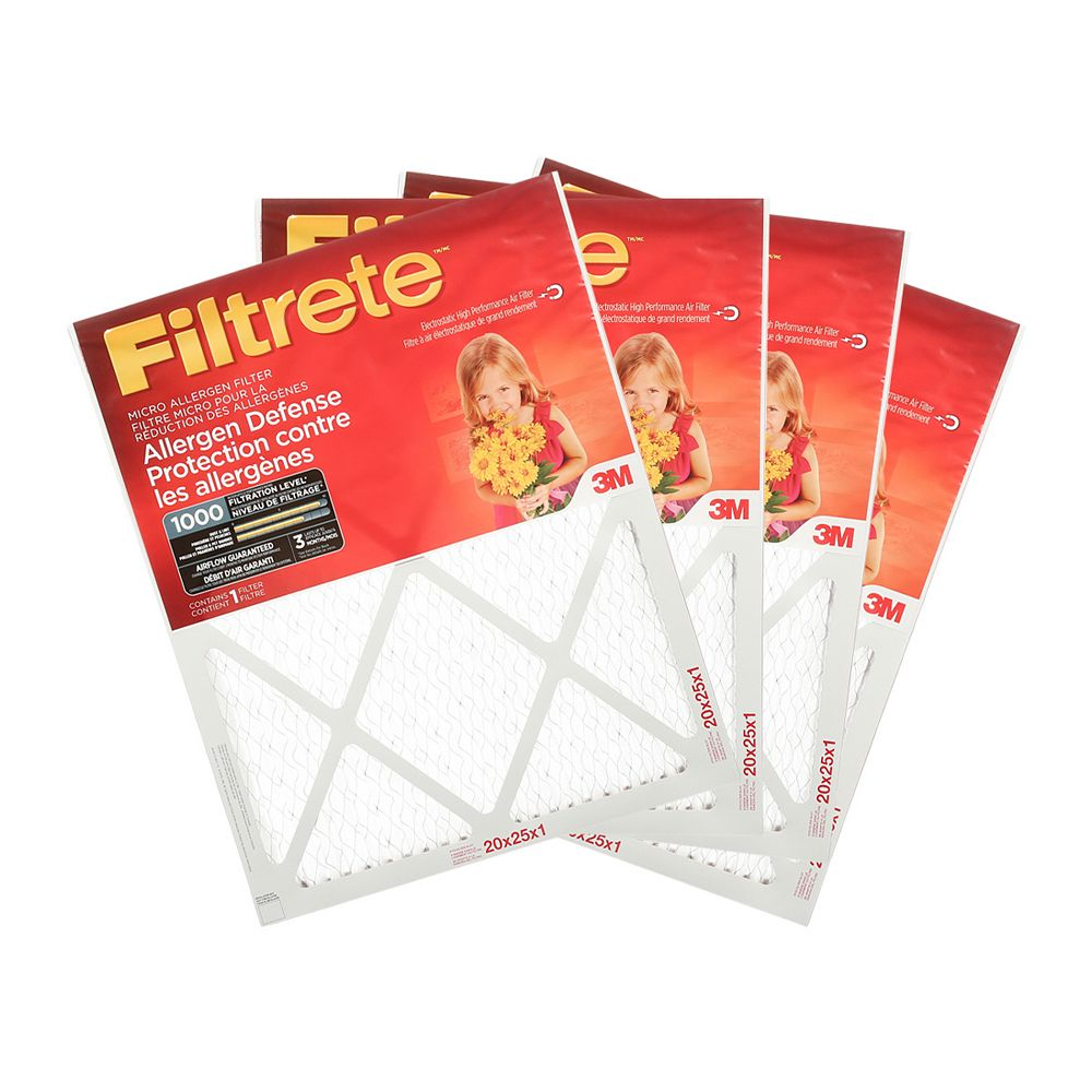 Filtrete Filters 20-inch x 25-inch x 1-inch Allergen Defense MPR 1000 Micro Allergen Filtrete Furnace Filter (4-pack)