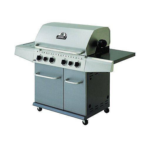 4-Burner Propane Gas Grill with Side Burner and Rotisserie Kit