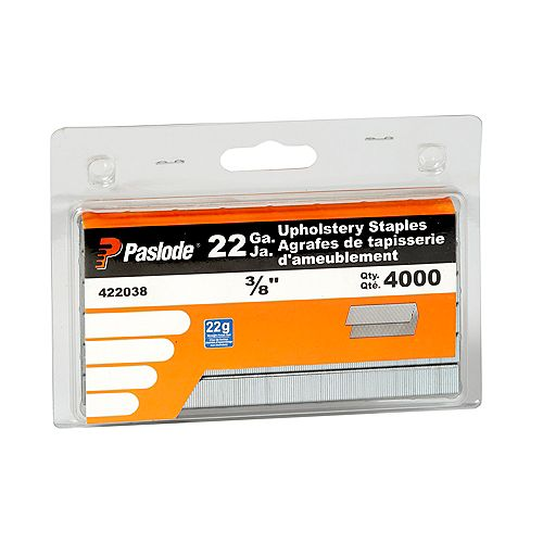 22 Gauge 3/8 Inch Upholstery Staples, (4000-Pack)