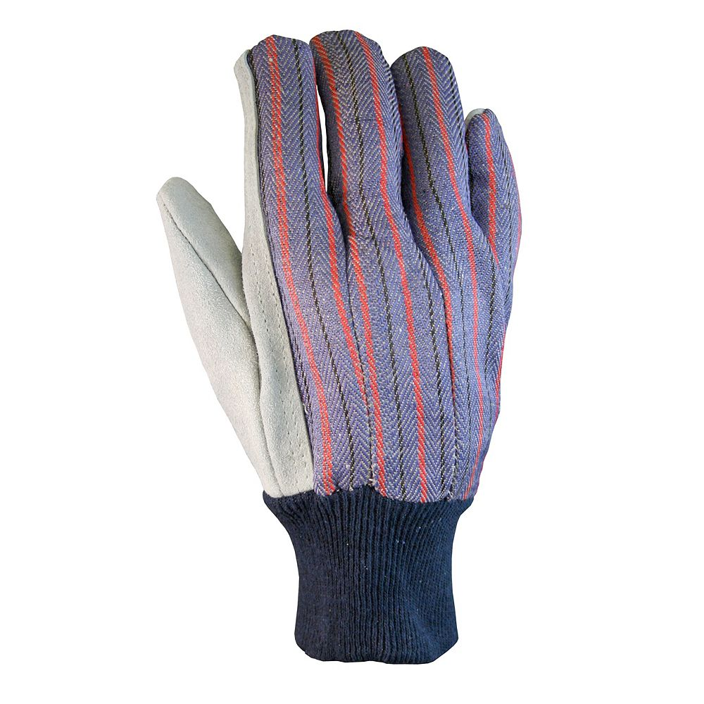 Firm Grip Leather Palm Gloves with Knit Wrist