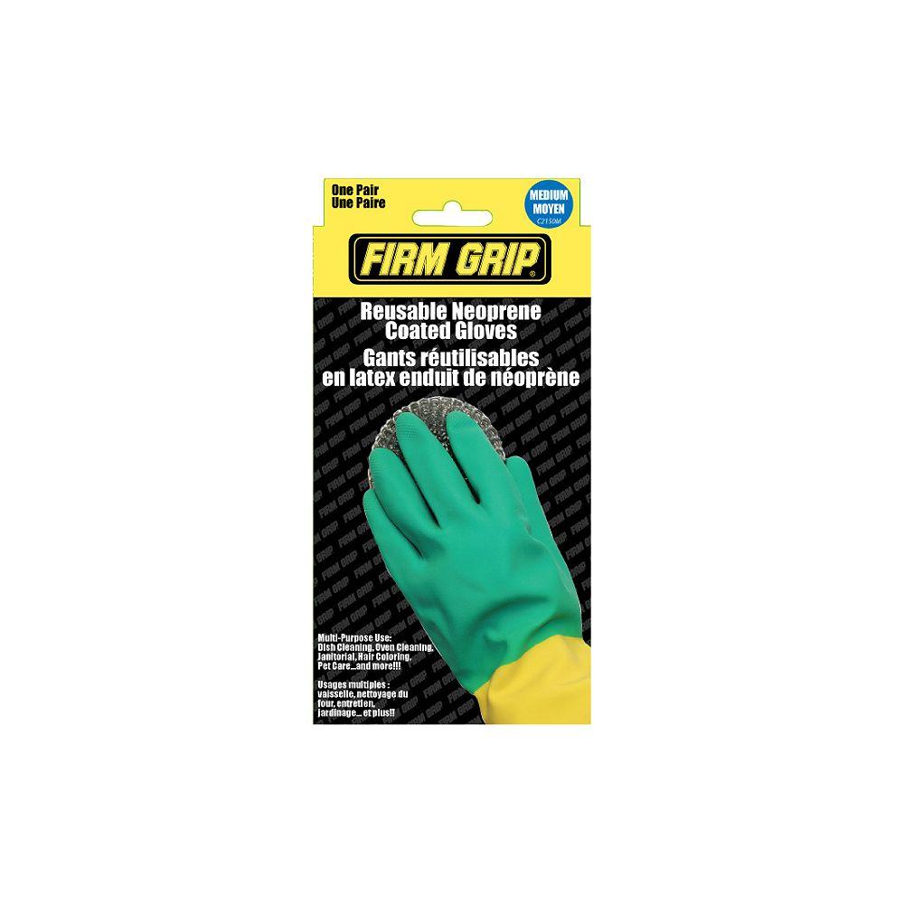 Firm Grip Reusable Neoprene Coated Gloves - Medium