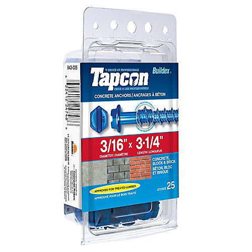 Tapcon Ancrages A Beton 3/16X3-1/4