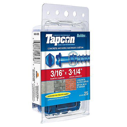 3/16-inch x 3-1/4-inch Tapcon Slotted Hex Head Concrete Screw