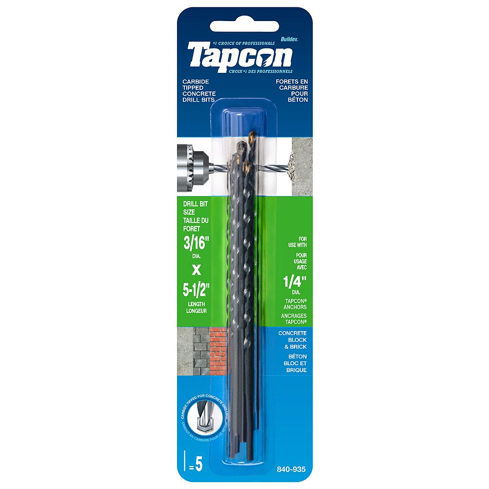 Tapcon 3/16-inch x 5-1/2-inch Carbide Tipped Concrete Drill Bits - 5 Pack