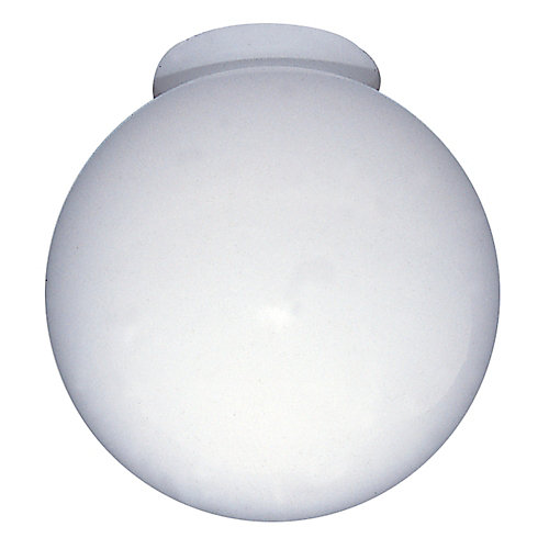 6 In. Globe Glass with neck, White Finish