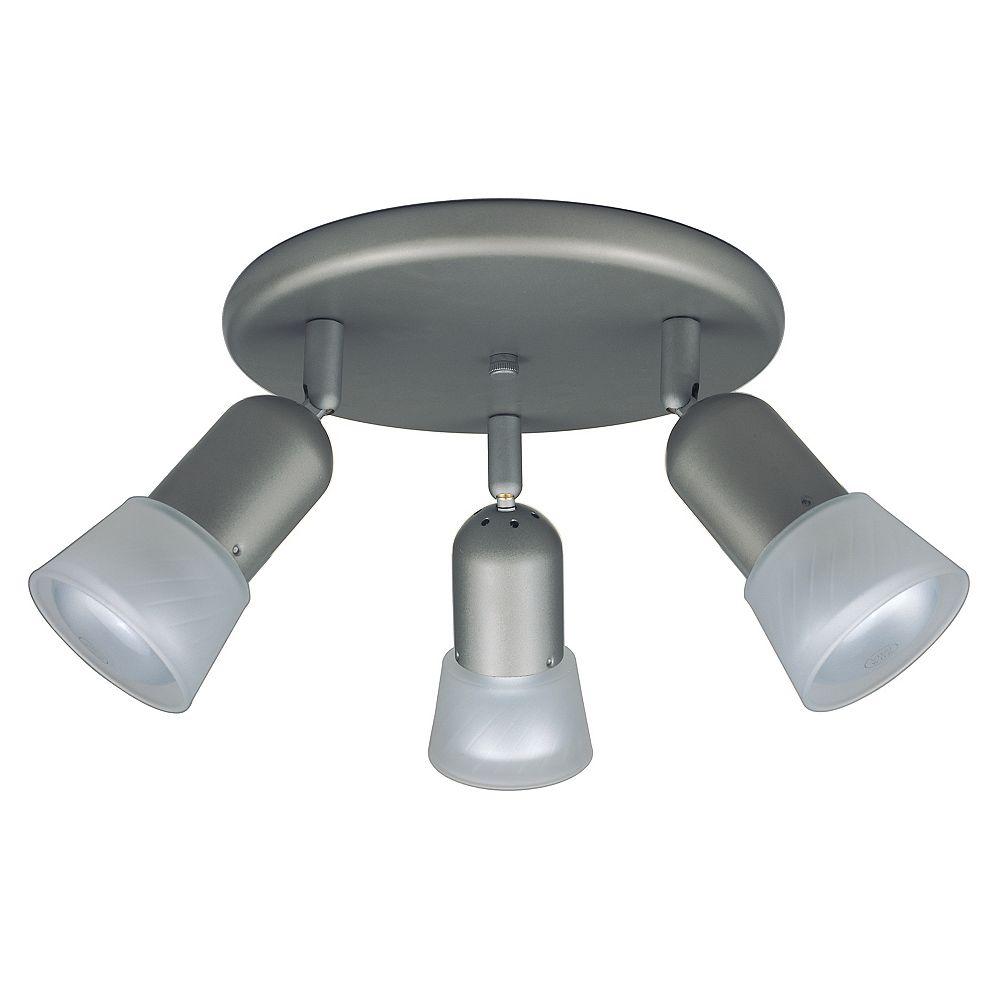 Hampton Bay 3 Light Semi-Flushmount Ceiling Fixture Brushed Nickel Finish Etched Glass Shades