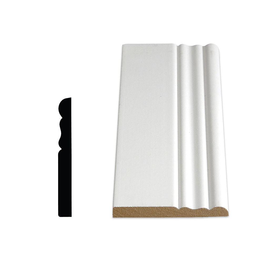 Alexandria Moulding 3/8-inch x 3 1/8-inch x 96-inch Colonial MDF Painted Decosmart Fibreboard Baseboard Moulding