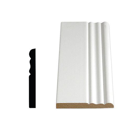 3/8-inch x 3 1/8-inch x 96-inch Colonial MDF Painted Decosmart Fibreboard Baseboard Moulding