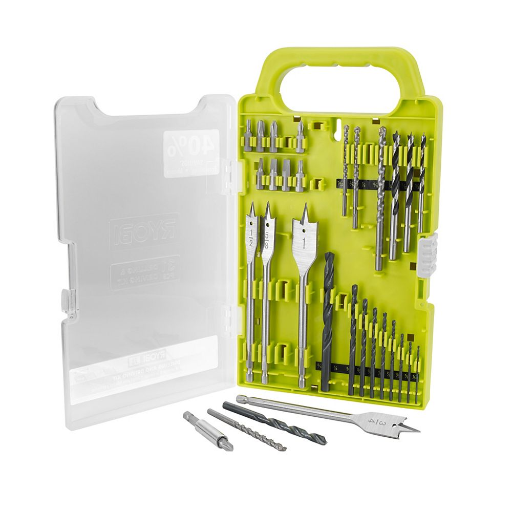 RYOBI Black Oxide Drill and Drive Kit with Carbide-Tipped Masonary Bits (31-Piece) with Clear Front Case